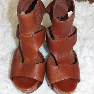 7 For All Mankind Stacked Wood Leather Heels, 10